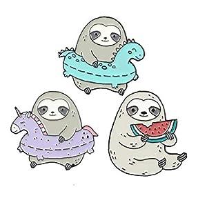 3pcs Cute Funny Sloth Broschen Set Tier Badge Kleidung Pins Cartoon Valentinstag Schmuck Geschenk für Mädchen