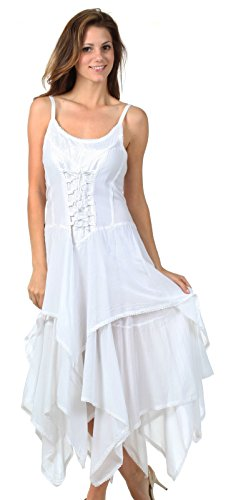 SakkasLady Mary Jacquard Korsett Taschentuch Saum Kleid Weiß