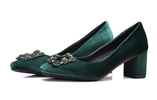 Aisun Damen Fashionable Strass Metall Nubukleder Slippers Pumps Grün