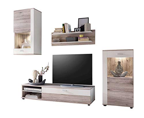 Avanti trendstore - lizzo - parete da soggiorno in legno laminato di colore quercia san remo/bianco. dimensioni: lap 243x190x40 cm