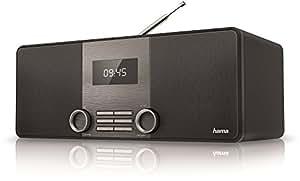 Hama DR1510 Digitalradio (DAB / DAB+ / FM, Bluetooth Streaming, 2,8 Zoll LCD Display, Stereo Lautsprecher, zwei Weckfunktionen, Aux-In, Kopfhörer Line-Out, Holzoptik) schwarz