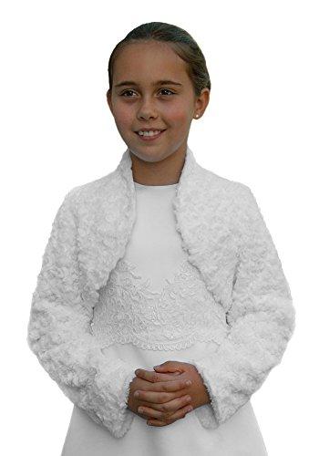 "Kommunion-Jacke ""Rose"" / Bolero aus Fell-Imitat, Farbe weiß, Größe 152"