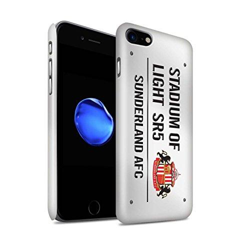 Offiziell Sunderland AFC Hülle / Glanz Snap-On Case für Apple iPhone 8 / Schwarz/Weiß Muster / SAFC Stadium of Light Zeichen Kollektion Weiß/Schwarz