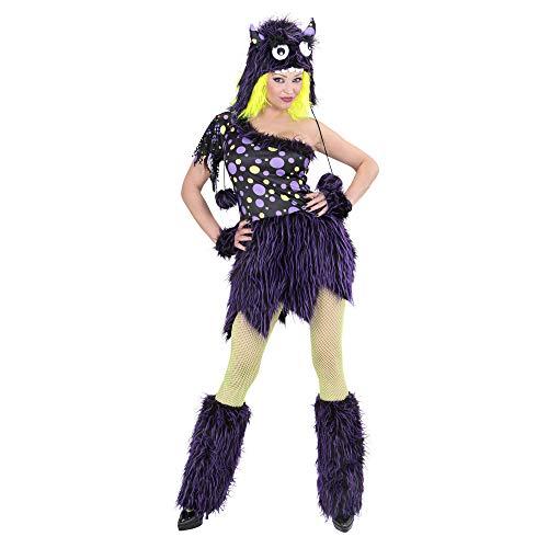 Monster Kostüm Girl - Widmann 01733 - Erwachsenenkostüm Monster Girl - Kleid, Mütze, Manschetten und Stulpen, Größe L, Mehrfarbig