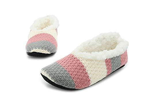 Frau Hausschuhe Pantoffeln Slipper Damen Slippers Women Filzschuhe Ballerina (40/41 EU, grau und rosa)