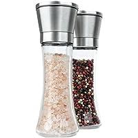 figg Design Salz und Pfeffermühle (2er-Set) mit einstellbarem Keramik-Mahlwerk - aus Edelstahl - Auch geeignet als Salzmühle und Gewürzmühle