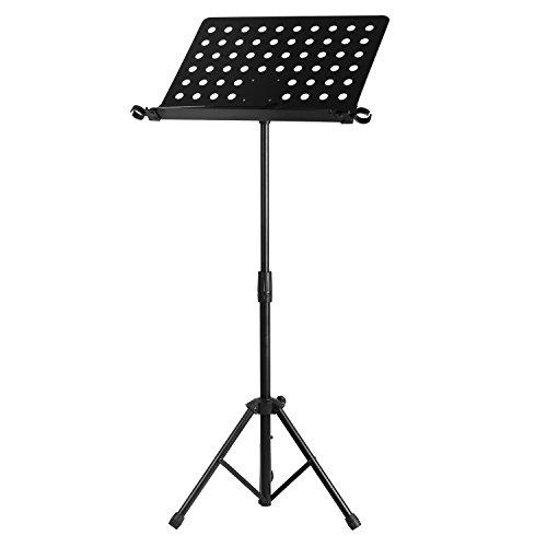Neewer Orchester Noten Ständer mit Hochleistungs Eisen-Rohre, Mikrofonhalter Schellen, abnehmbare Buchzeichen Faltende Stativ Basis, 23-43