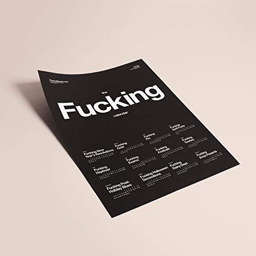 Putos Modernos - Fisura PM0870 Calendario Pared 2019 'Fucking Calendar 2019' 50x70 cm, Cartulina Negra 180 gr, Idioma Inglés