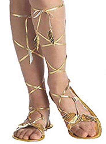 Karnevalsbud - Römersandalen Antike Kostüm- Schuhe Sandalen Lorbeerblätter Kleopatra goldglänzend, 36-38.5, Gold