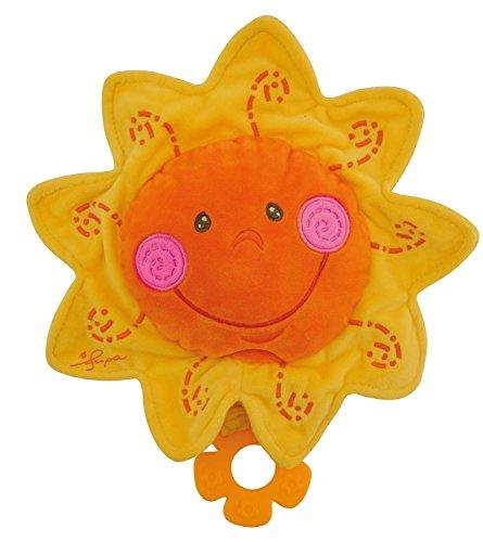Bieco 17000022 Musikspieluhr Plüschspieluhr Sonne Kuscheltier und Spieluhr in einem Einschlafhilfe mit Melodie Guten Abend, gute Nacht Ø 27 cm orange