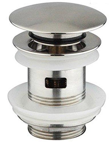 DeLanwa Massiv Edelstahl Ablaufgarnitur Popup Push-Open AblaufVentil Waschtisch/Waschbecken / Spüle/Becken in der Küche mit Überlauf, 607005.0