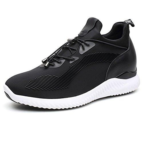 CHAMARIPA Ascensor Zapatillas Deportes Casual Zapatos Ligeros con Talón de Elevación Ocultos Para Hombre Negro Azul Gris -2,76 Pulgadas Taller-H71C62V012D (43, Negro)