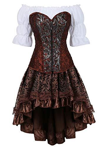 Steampunk corsagenkleid Leder Corsage Kleid Korsett Piraten Rock Kostüm Piraten Spitzenrock und Bluse Halloween Braun XL