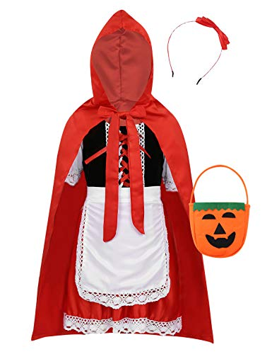 YiZYiF 5tlg. Mädchen Rotkäppchen Kostüm Cosplay Outfit Rot Cape Umhang Partykleid Märchen Kostüm Halloween Fasching Karneval Party Verkleidung Rot (Märchen Hexe Samt Kind Kostüm)