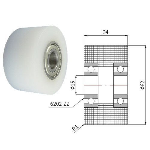 Zabi Einfache Kunststoff-Rollen Nylon mit Kugellager Ø 62mm
