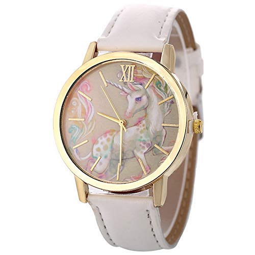 Bobopai Artificial Leather Strap Simple Dial Quartz Watch Cartoon Colorful Unicorn Print for Teen Students (White) -