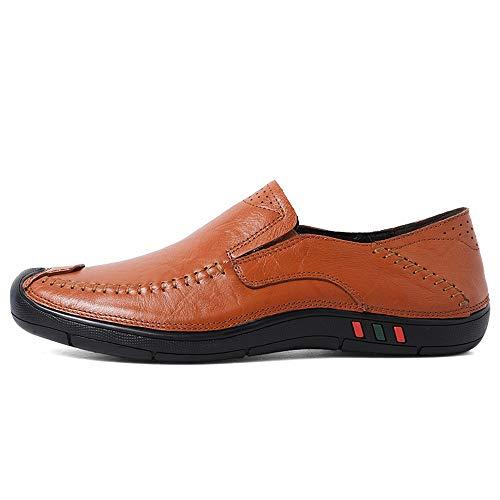 TONGDAUR Herren Driving Loafers Lässige Four Seasons Set Fußgröße Komfortable Verschleißfeste Boat Moccasins Semi Lederschuhe für Herren (Color : Braun, Größe : 40 EU) - Detail Loafers