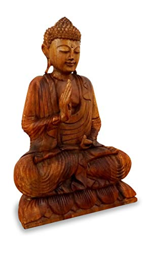 Ruheausstrahlender Buddha aus Holz