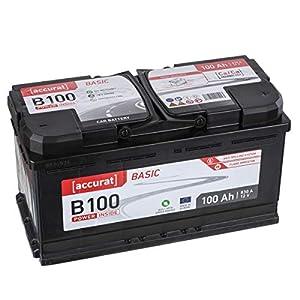 Accurat Autobatterie Starterbatterie B100 Basic 100Ah 12V 870A-Kaltstartstrom Blei-Säure Ca-Technologie Nassbatterie für PKW/Transporter wartungsfrei