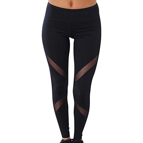Donne Della Maglia Nera Pantaloni Patchwork Di Yoga Di Sport Abbigliamento Leggings Trasparenti Nero