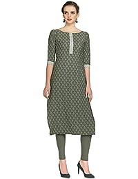 ZIYAA Women's Grey Color Floral Print Straight Crepe Kurta