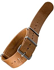 Bracelet de montre NATO en cuir véritable par ZULUDIVER Marron clair 20mm