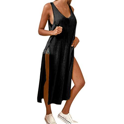 T-Shirtkleid für Damen/Dorical Frauen A-Linie Rundhals Midikleid Sommerkleid Ärmellos Longshirt mit Schlitz Tanktops Strandkleider Casual Loose Vestkleid Sportkleid(Schwarz,Large)