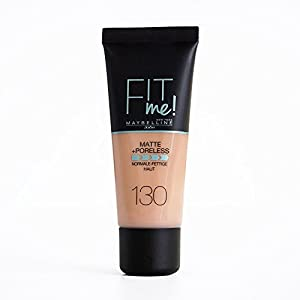 Maybelline Fit Me Base de Maquillaje Mate, Sin Poros, 130 Buff Beige – 30 ml