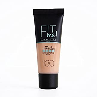 Maybelline Fit Me Base de Maquillaje Mate, Sin Poros, 130 Buff Beige – 30 ml