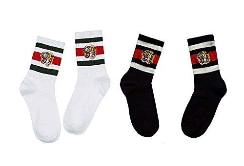 Sassy Pippi Unisex Streifensocken mit Tiger-Stickerei, Sportsocken (White (Green + Red) + Black 2er Pack) (Baby Für Von Schuhe Gucci)