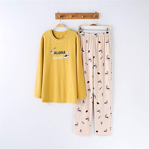 Pigiami inverno donna, pigiama donna manica lunga, camicia da notte per donna,coppia tuta comfort cotone manica lunga a-2 maschio xl