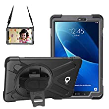 Gerutek Galaxy Tab A 10.1 2016 Case SM T580/T585 Full Body Shockproof with Rotation Kickstand and Hand/Shoulder Strap Drop Protection Cover Heavy Duty Rugged Case for Samsung Galaxy Tab A6 10.1, Black