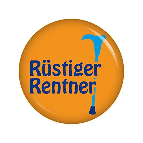 Kiwikatze® Sprüche - Rüstiger Rentner - 37mm Button Pin Ansteckbutton Rente als Geschenk oder Mitbringsel zum Ruhestand oder Geburtstag