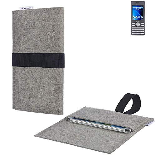 flat.design Handy Hülle Aveiro für Kazam Life B6 passgenau Handytasche Filz Tasche fair schwarz hellgrau