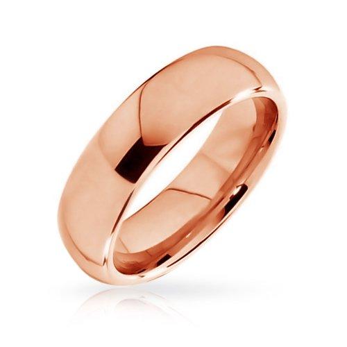 he Einfache Dome Paare Ehering Ring Rose Vergoldete Tungsten Ring Für Herren Für Damen Comfort Fit 6Mm ()