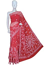 ADA Women's Faux Georgette Hand Embroidered Lucknow Chikan Saree With Blouse Piece (A204916_Carrot Pink)