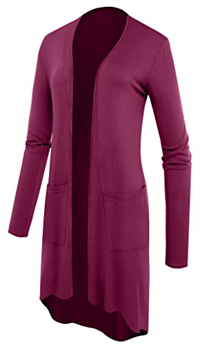 sexylady - Gilet - Uni - Manches Longues - Femme rouge vin