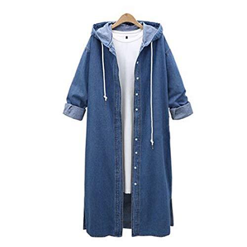 Bluelucon Damen Denim Mäntel Elegant Lose Revers Lang Jean Jacke Winterantel Warm Winter Winterjacke mit Kapuze Strickjacken Outwear