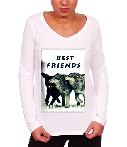 Three Monkeys Wolves Best Friends Animals Collection Women's Claire Long Sleeve T-Shirt Bianco Large