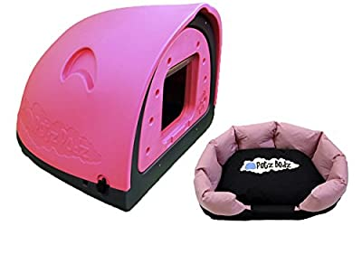 Petzpodz DOG POD with removeable front flap insert MEDIUM designer pink plastic dog crate, cave & den, dog kennel house dog home and igloo for indoor and outdoor use