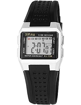 Digital-Armbanduhr Silber Schwarz + Box Quarz Silikon Damenuhr Kinderuhr Herrenuhr Unisex Sport Alarm Licht Stoppuhr...