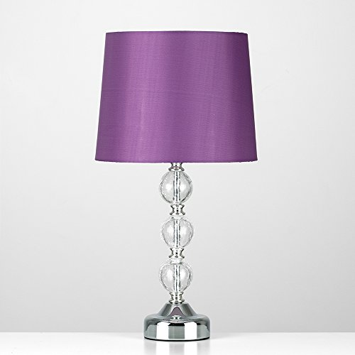 Purple table lamps amazon modern chrome crackle glass ball touch table lamp with purple faux silk lampshade mozeypictures Image collections