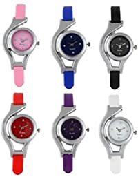 Freny Exim Sophisticated Set Of 6 Pink Blue Black Red Purple And White Round Dial Soft Strap Analog Women Watches...