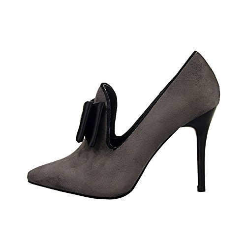 JNTworld Plate-forme Femmes Vintage bowknot pompe Bottes sandales à talons hauts cheville Gris
