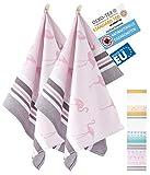 ZWOLTEX Antimikrobiale Jacquard Geschirrtücher aus Ägyptischer Baumwolle und Bambus I Made IN EU I Oeko-TEX 100 I Gewebte Küchentücher - 2X Geschirrhandtücher mit Motiv Flamingo
