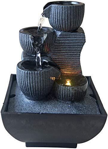 Zen Light Kini - Fuente de Interior con Bomba e iluminación LED, Resina, Talla única