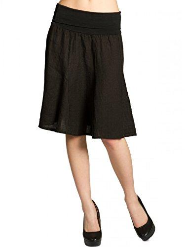 CASPAR RO014 Damen Leinenrock mit figurfreundlichem Stretch Bund, Farbe:schwarz;Größe:One Size (A-linie Stretch-rock)