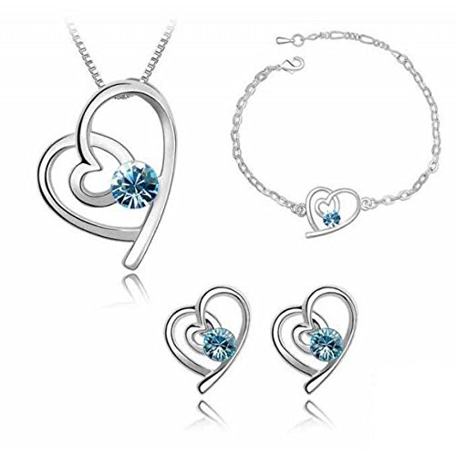 Parure coeur cristal swarovski elements blanc plaqué or blanc Bleu turquoise