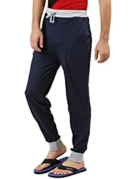 Style Shell Navy Men's Cotton Cuff Track Pants