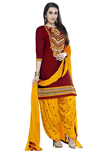 Kvsfab Women\'s Cotton Dress Material (KVSSK4860KAR_2_Free Size_Maroon)
